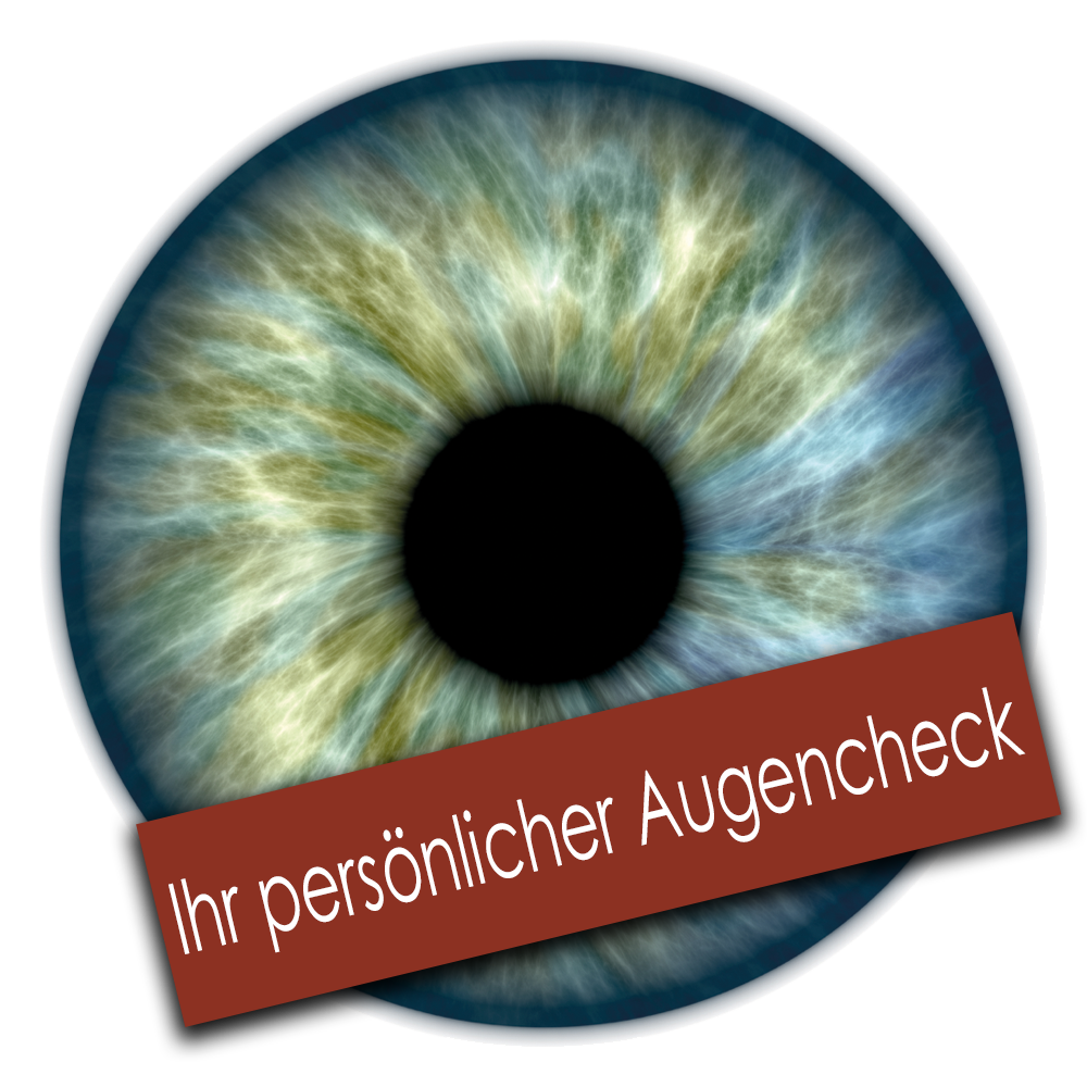 Nahaufnahme Auge mit Schriftzug 3D-Augencheck